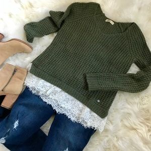 Hollister olive green sweater w ivory lace trim